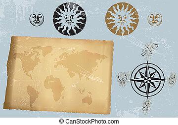 antik kort, rose, vinhøst, verden, vind