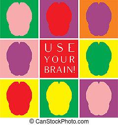 anvendelse, farverig, hjerne, vektor, din, ikon