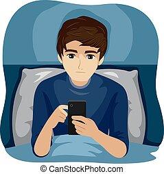 anvendelse, nat, illustration, senere, apparat, dreng, teenager