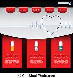 apotek, website, skabelon, konstruktion