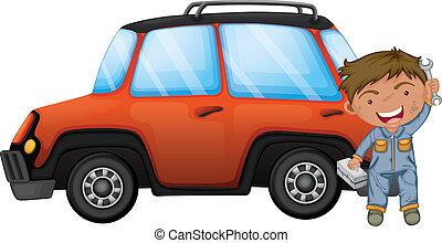 appelsin, fastlægge, mand, automobilen