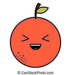 appelsin, kawaii, frugt, karakter, lækker