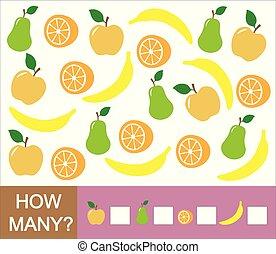 appelsin, optælling, uddannelses, pear, boldspil, (apple, children., hvordan, lærdom, antal, banana)., mathematics., frugter, mange