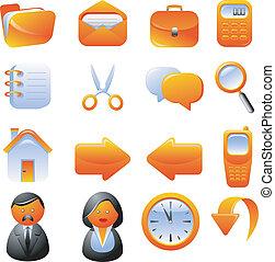 appelsin, sæt, iconerne