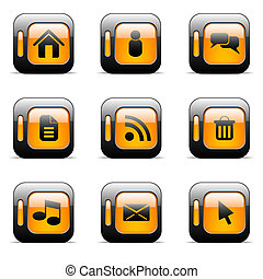 appelsin, sæt, ikon