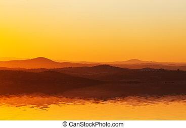 appelsin, solnedgang, spectacular