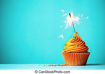 appelsin, sparkler, cupcake