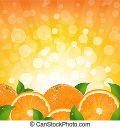 appelsin, sunburst, baggrund