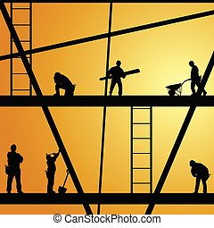 arbejde, konstruktion, vektor, arbejder, illustration