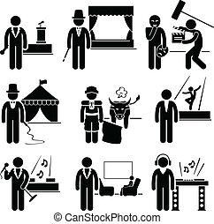 arbejde, kunstner, underholdning, erhverv