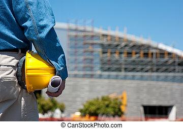 arbejdsformanden, konstruktion arbejder, site, eller