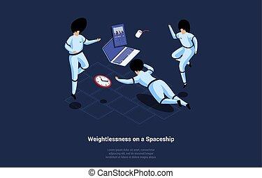 arealet, astronauter, komposition, cartoon, vektor, illustration, omkring, vægtløshed, baggrund., 3, tre, laptop, skriverier, infographics, style., spaceship, isometric, flyde, concept., mørke