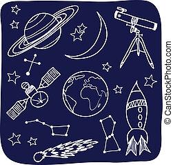 arealet, himmel, -, emne, nat, astronomi