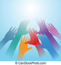 arealet, lys, folk, nå, klar, hænder, kopi, ydre