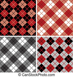 argyle-plaid, black-red, mønster