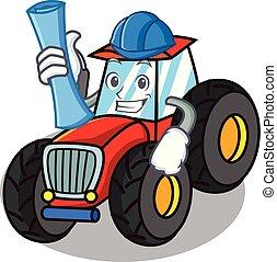 arkitekt, firmanavnet, karakter, cartoon, traktor