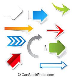 arrows., vektor, avis, sæt