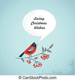 ashberry, fugl, tale, baggrund, bobler, jul