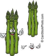 asparagus, grønsag, grønne, cartoon, karakter