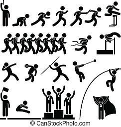 atletisk, banen, boldspil, sport, felt