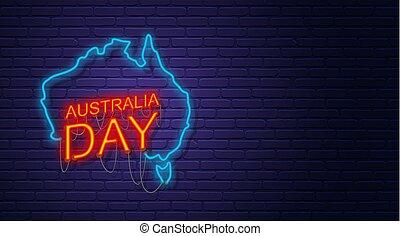 australsk, wall., australia., australien, template., banner, tegn, horisontale, national, mursten, kort, neon, day., holiday.