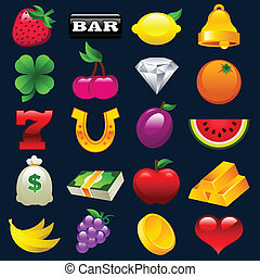 automaten, farverig, iconerne