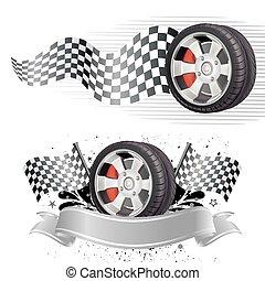 automobil, element, væddeløb