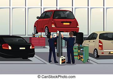 automobil, under, fastlægge, mekaniker, vogn hætte