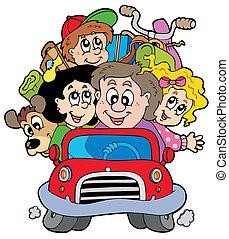 automobilen, ferie, familie, glade