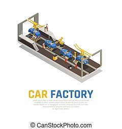 automobilen, isometric, fabrik, komposition