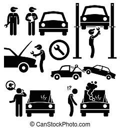 automobilen, værksted, mekaniker, reparer