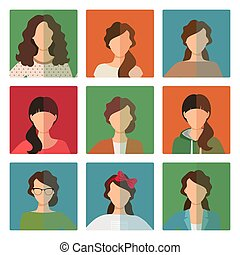 avatar, firmanavnet, kvindelig, sæt, henkastet