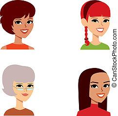 avatar, kvindelig, sæt, portræt, cartoon