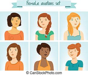 avatars., 6, sæt, kvindelig, bogstaverne