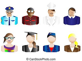 avatars, og, professioner, bruger, iconerne