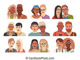 avatars, vektor, illustration, set., lejlighed, moderne, portraits., par, samling