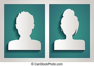 avatars., vektor, mandlig, kvindelig