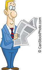 avis, forretningsmand, læsning