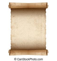 avis, gamle, vektor, scroll