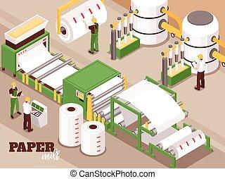 avis, isometric, komposition, fabrik
