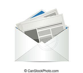 avis, post, konstruktion, illustration