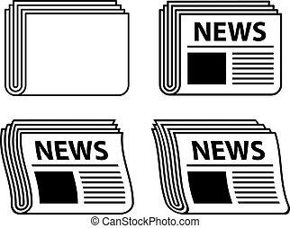 avis, symboler, bølgede, sort, vektor