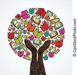bøger, begreb, træ, konstruktion