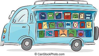 bøger, drive, bibliotek, ambulant