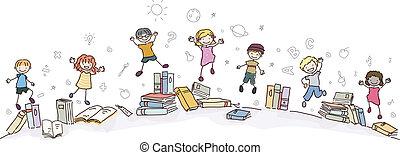 bøger, stickman, springe, børn