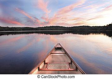 bøje sig, solnedgang, sø, kano