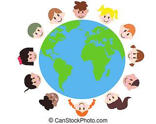 børn, adskillige, jord, omkring
