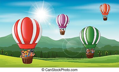 børn, balloon, flyve, luft, hede, glade