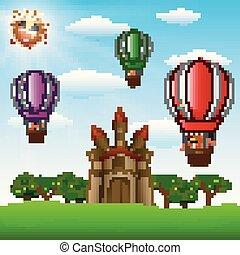 børn, balloon, luft, hede, ride, slot, cartoon