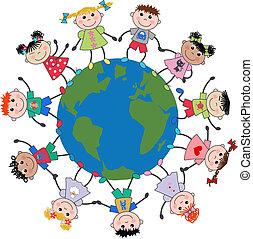 børn, blandede etniske